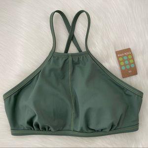 NWT Title Nine High Neck Bikini Top Green Small